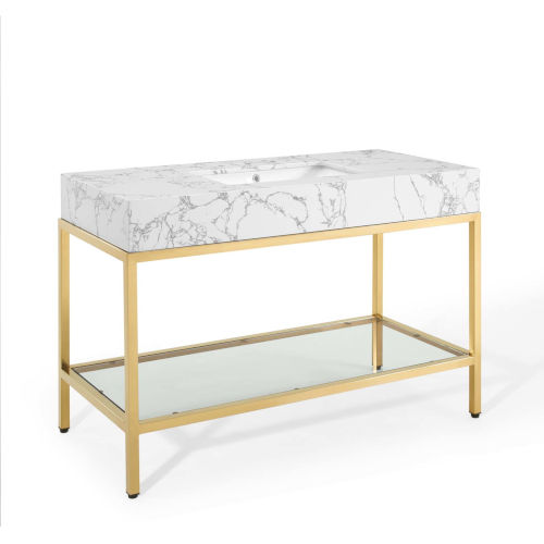 Monroe Gold White 50-Inch Gold Stainless Steel Bathroom Vanity