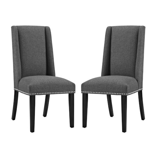 Linden Gray Fabric Dining Chair, Set of Two