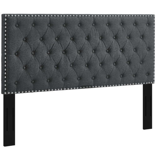 Linden Gray Tufted King and California King Upholstered Linen Fabric Headboard