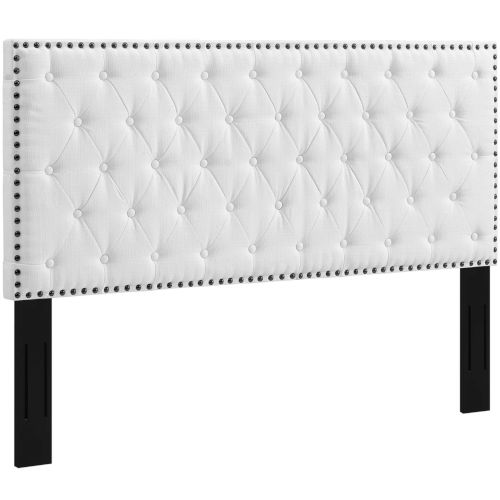 Linden Tufted King and California King Upholstered Linen Fabric Headboard