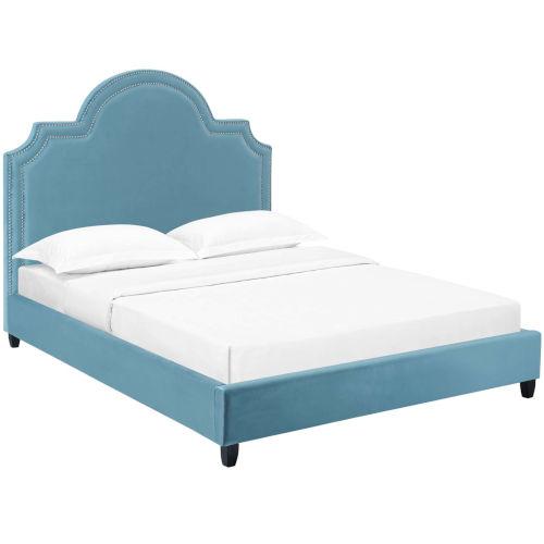 Vivian Sea Blue Queen Performance Velvet Platform Bed