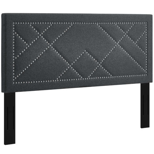 Vivian Gray Nail head Full Upholstered Linen Fabric Headboard