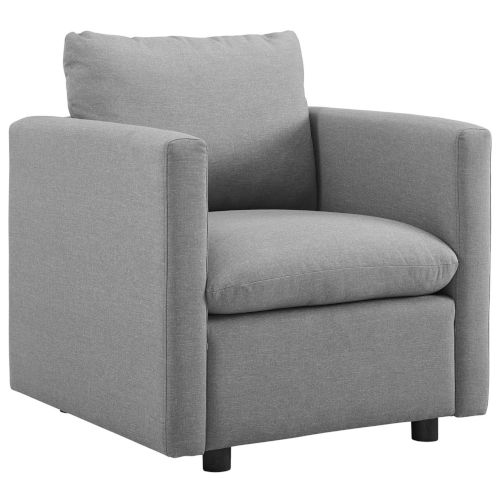 Selby Light Gray Upholstered Fabric Armchair