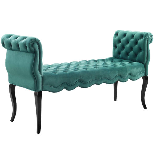 Vivian Teal Chesterfield Style Button Tufted Performance Velvet Bench