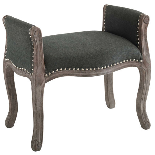 Evelyn 27-Inch Vintage French Upholstered Fabric Bench