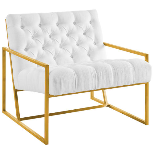 Cooper White Gold Stainless Steel Upholstered Fabric Accent Chair
