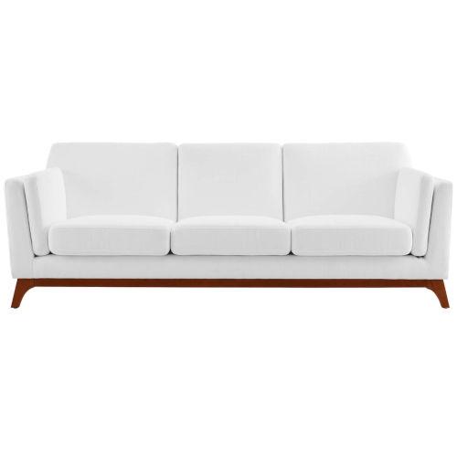 Nicollet White Upholstered Fabric Sofa