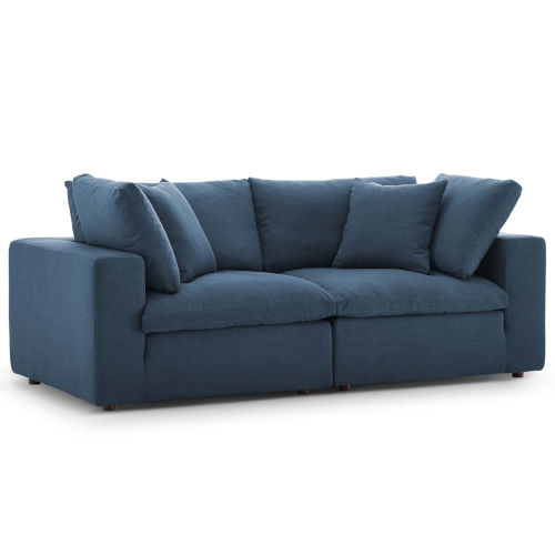 Selby Azure Down Filled Overstuffed Two-Piece Sectional Sofa Set