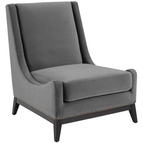 Cooper Gray Accent Upholstered Performance Velvet Lounge Chair