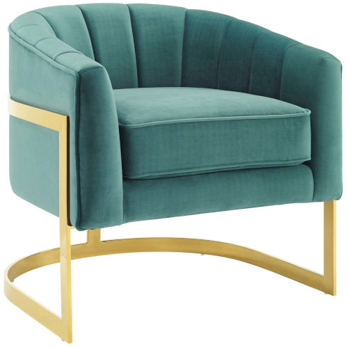Cooper Teal Vertical Channel Tufted Performance Velvet Accent Armchair