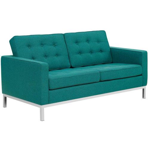 Linden Teal Upholstered Fabric Loveseat