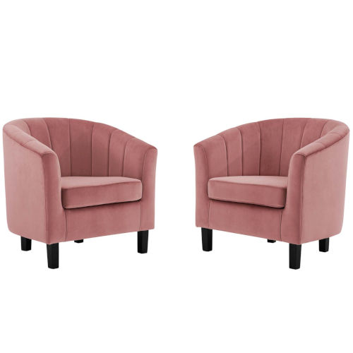Cooper Channel Tufted Performance Velvet Armchair, Set of Two