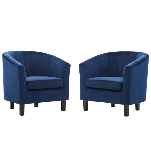 Cooper Navy Channel Tufted Performance Velvet Armchair, Set of Two