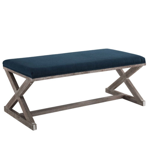 Hayden Vintage French X-Brace Upholstered Fabric Bench