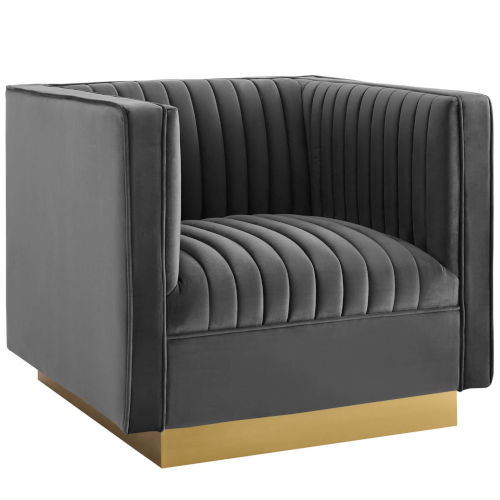 Cooper Gray Vertical Channel Tufted Accent Performance Velvet Armchair