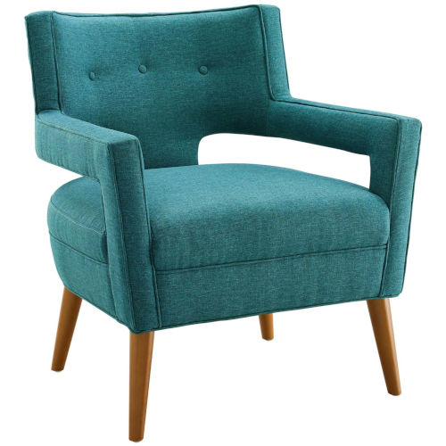 Monroe Teal Upholstered Fabric Armchair
