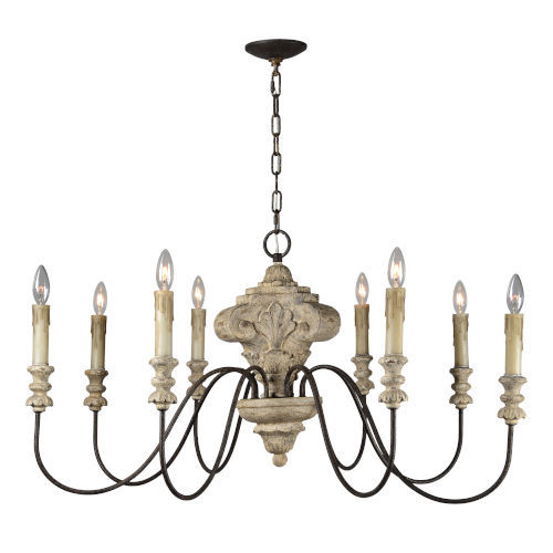 Iris Weathered Wood and Black Eight-Light Chandelier