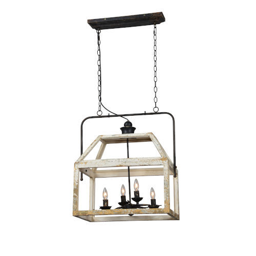 Iris Cottage White and Black Four-Light Chandelier