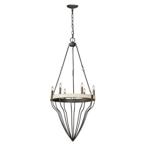 Iris Antique White and Pewter Six-Light Chandelier