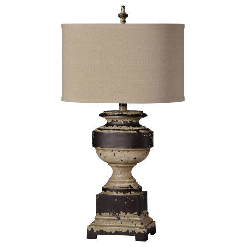 Hazel Distressed Cream and Charcoal Gray One-Light Table Lamp