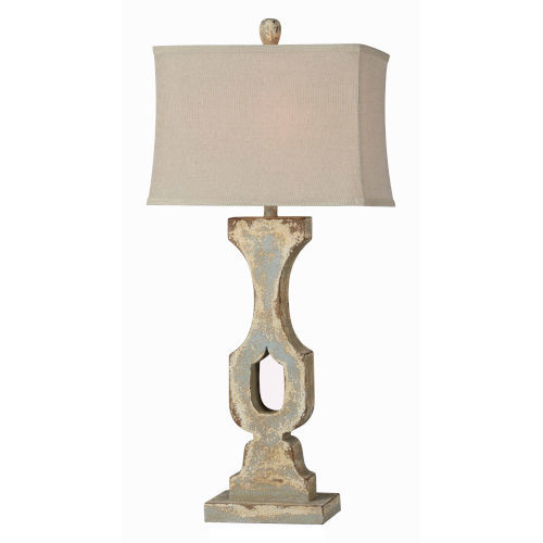 Hazel Distressed Cream and Blue One-Light Table Lamp