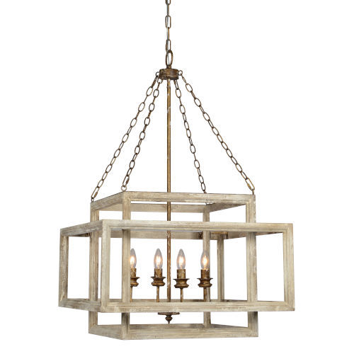Olivia White Distressed Four-Light Chandelier