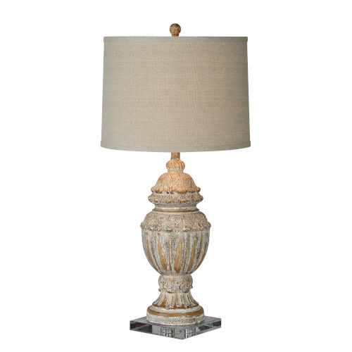 Charlotte Gray and Cream Distressed One-Light Table Lamp