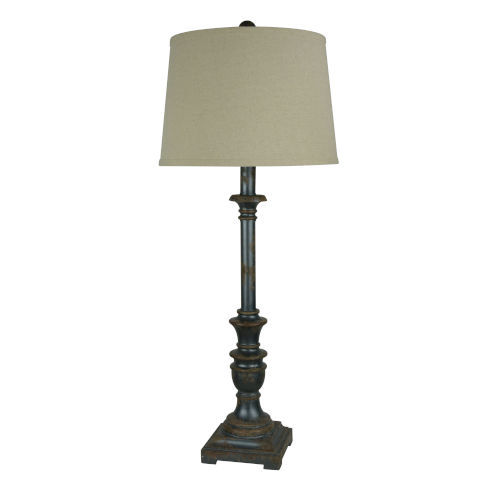 Partridge Aged Raw Metal One-Light Buffet Lamp