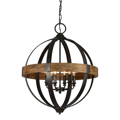 Jackson Weathered Pewter And Driftwood Six-Light Chandelier