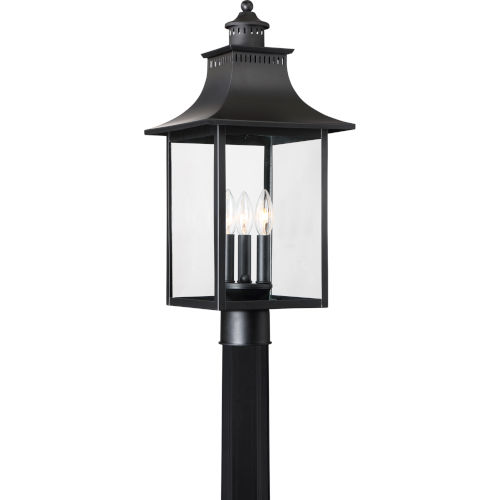 Bryant Black Three-Light Outdoor Post Mount with Clear Glass