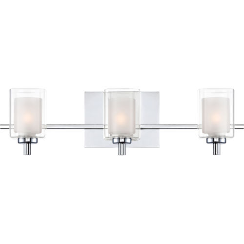 Selby Polished Chrome Three-Light LED Bath Vanity with Outer Clear Glass