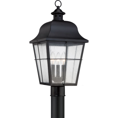 Bryant Black Three-Light Outdoor Post Mount with Clear Seedy Glass