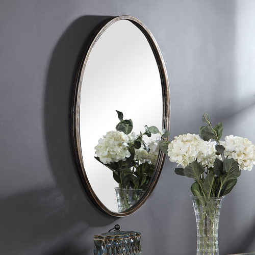 Linden Bronze Oval Wall Mirror
