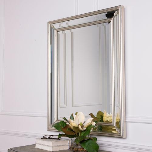 Monroe Silver Double Framed Rectangular Wall Mirror