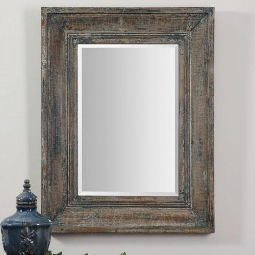 Hayden Distressed Wood Rectangular Framed Wall Mirror