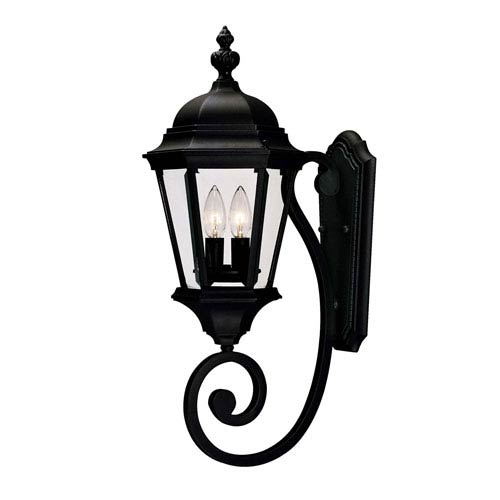 Webster Textured Black Two-Light Outdoor Wall Sconce