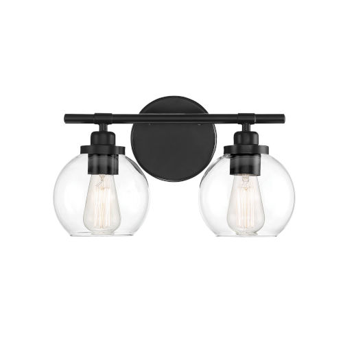 Fredrick Matte Black Two-Light Bath Vanity