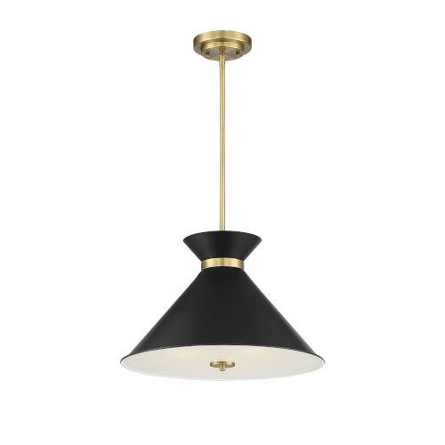 Cora Black and Warm Brass Three-Light Pendant
