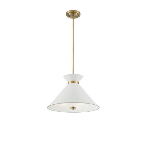 Cora White and Brass Three-Light Pendant