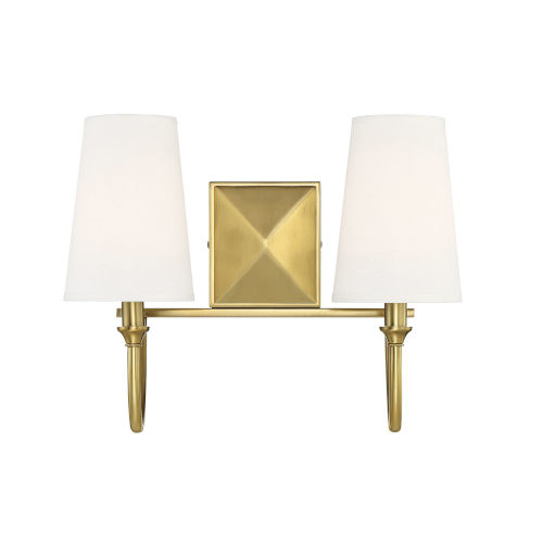 Anna Warm Brass Two-Light Bath Vanity