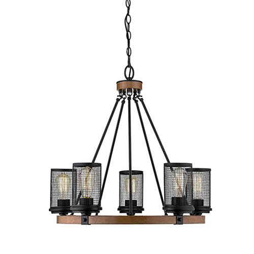 Finn Matte Black and Wood Grain Five-Light Chandelier