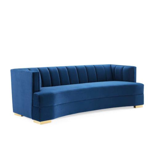 Vivian Navy Tufted Velvet Curved Sofa