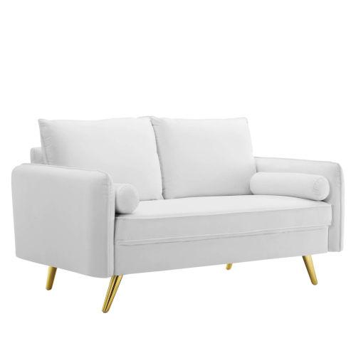 Vivian White Upholstered Loveseat