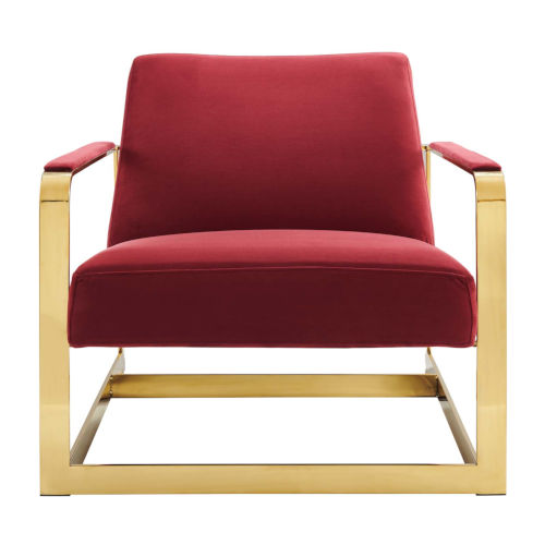 Monroe Gold and Maroon Performance Velvet Accent Chair
