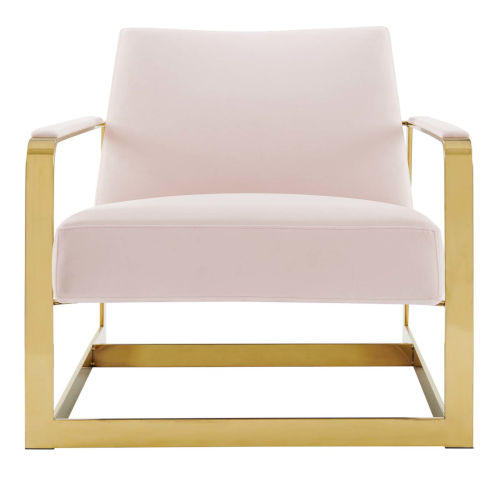 Monroe Gold and Pink Performance Velvet Accent Chair