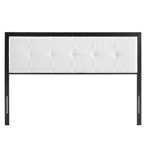 Whittier Black and White Tufted Twin Headboard