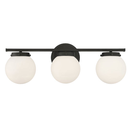 Cora Matte Black Three-Light Bath Vanity with Opal Glass