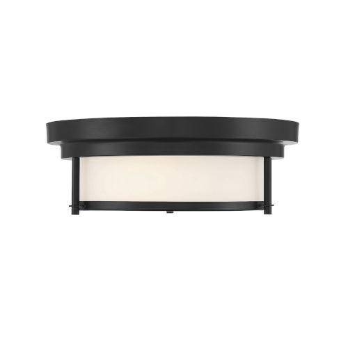 Whittier Matte Black Two-Light Flush Mount