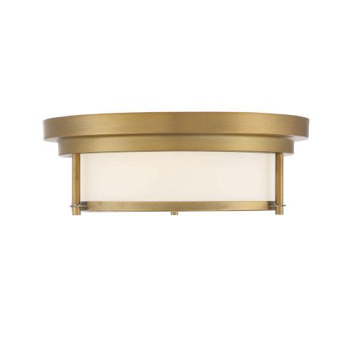 Whittier Natural Brass Two-Light Flush Mount