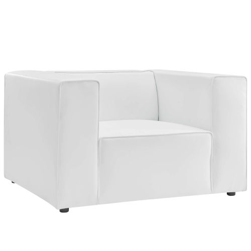 Vivian White Vegan Leather Armchair